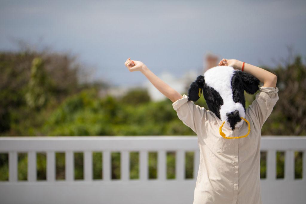 身体を動かす牛子のイメージ